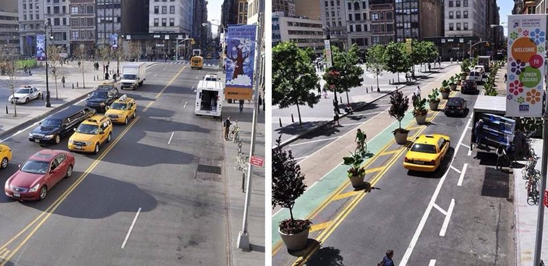 NYC Protected Bike Lane, next to Union Square